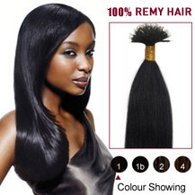 16 inches Jet Black(#1) Nano Ring Human Hair Extensions