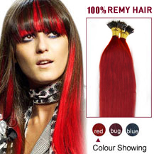 "24"" Red 50s Nano Ring Human Hair Extensions"