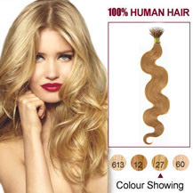 "20"" Strawberry Blonde(#27) Nano Ring Wavy Hair Extensions"