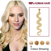 "18"" Bleach Blonde(#613) Nano Ring Wavy Hair Extensions"