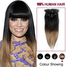 20 inches Two Colors #1b And #14 Straight Ombre Indian Remy Clip In Hair Extensions