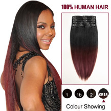 16 inches Two Colors #1b And #443 Straight Ombre Indian Remy Clip In Hair Extensions