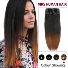 24 inches Two Colors #2 And #10 Straight Ombre Indian Remy Clip In Hair Extensions