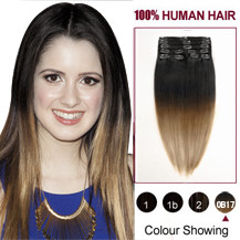 24 inches Two Colors #2 And #14 Straight Ombre Indian Remy Clip In Hair Extensions