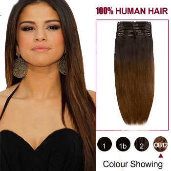 16 inches Two Colors #2 And #4 Straight Ombre Indian Remy Clip In Hair Extensions
