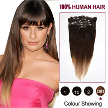 16 inches Three Colors #2 And #4 And #613 Ombre Indian Remy Clip In Hair Extensions