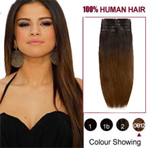 24 inches Two Colors #2 And #4 Straight Ombre Indian Remy Clip In Hair Extensions