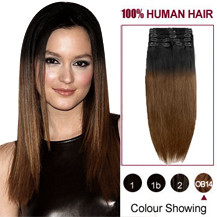 24 inches Two Colors #2 And #6 Straight Ombre Indian Remy Clip In Hair Extensions