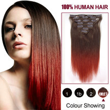 24 inches Two Colors #4 And Red Straight Ombre Indian Remy Clip In Hair Extensions
