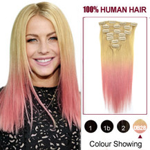 24 inches Two Colors #613 And Pink Straight Ombre Indian Remy Clip In Hair Extensions