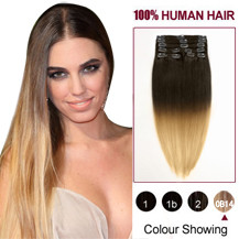 24 inches Two Colors #6 And #27 Straight Ombre Indian Remy Clip In Hair Extensions