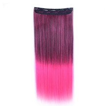 24 inches Ombre Colorful Clip in Hair Straight 14# Purple/Rosy 1 Piece