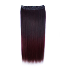 24 inches Ombre Colorful Clip in Hair Straight 1# Black/Bug 1 Piece