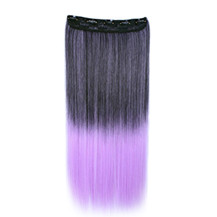 24 inches Ombre Colorful Clip in Hair Straight 2# Black/Lavender 1 Piece