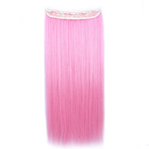 24 inches Ombre Colorful Clip in Hair Straight 5# Pink/Pink 1 Piece