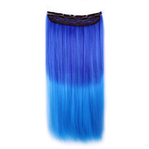 24 inches Ombre Colorful Clip in Hair Straight 6# Dark-Blue/Light-Blue 1 Piece
