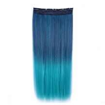 24 inches Ombre Colorful Clip in Hair Straight 7# Dark-Blue/Peacock-Green 1 Piece