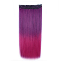24 inches Ombre Colorful Clip in Hair Straight 8# Purple/Rosy 1 Piece