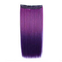 "24"" Ombre Colorful Clip in Hair Straight 12# Rose/Dark-Purple 1 Piece"