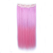 24 inches Ombre Colorful Clip in Hair Straight 13# Warm-Pink/Pink 1 Piece