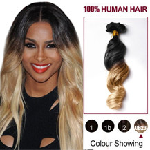 "16"" Two Colors #1b And #27 Wavy Ombre Indian Remy Clip In Hair Extensions"