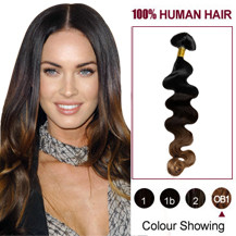 18 inches Three Colors #1b And #3 And #10 Wavy Ombre Indian Remy Clip In Hair Extensions