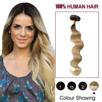 16 inches Three Colors #2 And #12 And #613 Wavy Ombre Indian Remy Clip In Hair Extensions