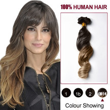 16 inches Two Colors #2 And #14 Wavy Ombre Indian Remy Clip In Hair Extensions