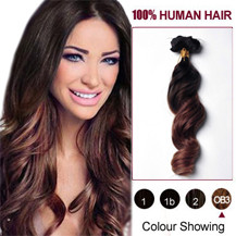 24 inches Two Colors #2 And #443 Wavy Ombre Indian Remy Clip In Hair Extensions