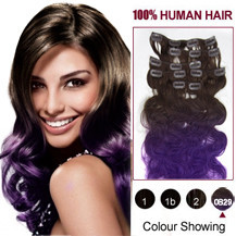 16 inches Two Colors #4 And Lila Wavy Ombre Indian Remy Clip In Hair Extensions