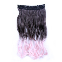 24 inches Ombre Colorful Clip in Hair Wavy 22# 99J/Pink 1 Piece