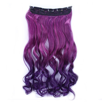 24 inches Ombre Colorful Clip in Hair Wavy 29# Rosy/Dark-Purple 1 Piece