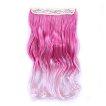 24 inches Ombre Colorful Clip in Hair Wavy 29# Rosy/Pink-White 1 Piece