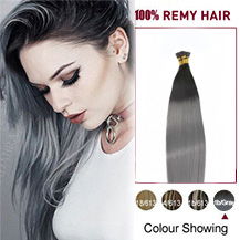 16 inches Ombre #1/Grey 50S Stick Tip Human Hair Extensions Straight