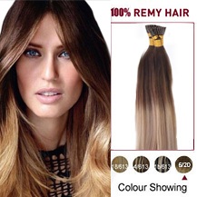 "16"" Ombre #6/20 50S Stick Tip Human Hair Extensions Straight"