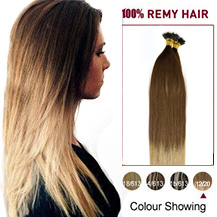 """24"""" Ombre #12/20 50s Nano Ring Human Hair Extensions"""