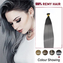 "24"" Ombre #1/Grey 50s Nano Ring Human Hair Extensions"