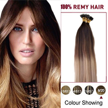 "16"" Ombre #6/20 50s Nano Ring Human Hair Extensions"