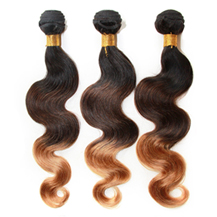 3 set bundle #1B/4/27 Ombre Body Wave Indian Remy Hair Wefts 10/12/14 Inches