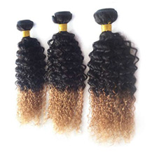 3 set bundle #1B/27 Ombre Curly Indian Remy Hair Wefts 16/18/20 Inches