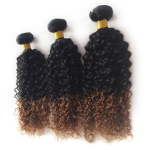 3 set bundle #1B/30 Ombre Curly Indian Remy Hair Wefts 12/14/16 Inches