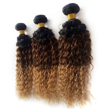 3 set bundle #1B/4/27 Ombre Curly Indian Remy Hair Wefts 10/12/14 Inches