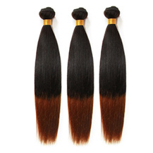 3 set bundle #1B/30 Ombre Straight Indian Remy Hair Wefts 12/14/16 Inches