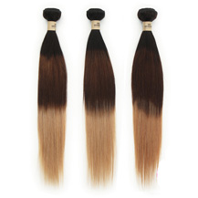 3 set bundle #1B/4/27 Ombre Straight Indian Remy Hair Wefts 16/18/20 Inches