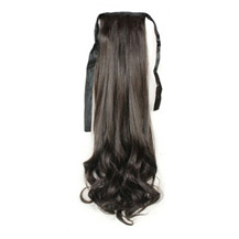 14 Inches Human Hair Bundled Fluffy Long Wavy Ponytail Black