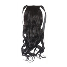 24 Inches Human Hair Bundled Long Wavy Ponytail Black 1 Piece