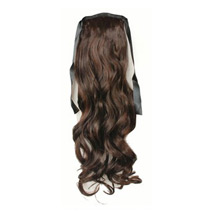 20 Inches Human Hair Bundled Long Wavy Ponytail Deep Chectnut Brown 1 Piece