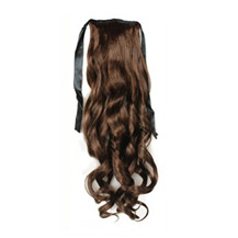 14 Inches Human Hair Bundled Long Wavy Ponytail Flax Yellow 1 Piece