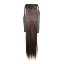 14 Inches Human Hair Bundled Long Straight Ponytail Chestnut Brown
