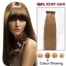 "18"" Golden Brown (#12) 100S Stick Tip Human Hair Extensions"
